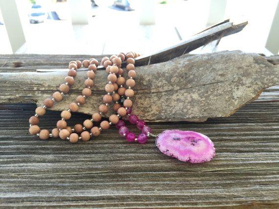 Pink Mala Beads Yoga Necklace Gypsy Jewelry by TrueNatureJewelry
