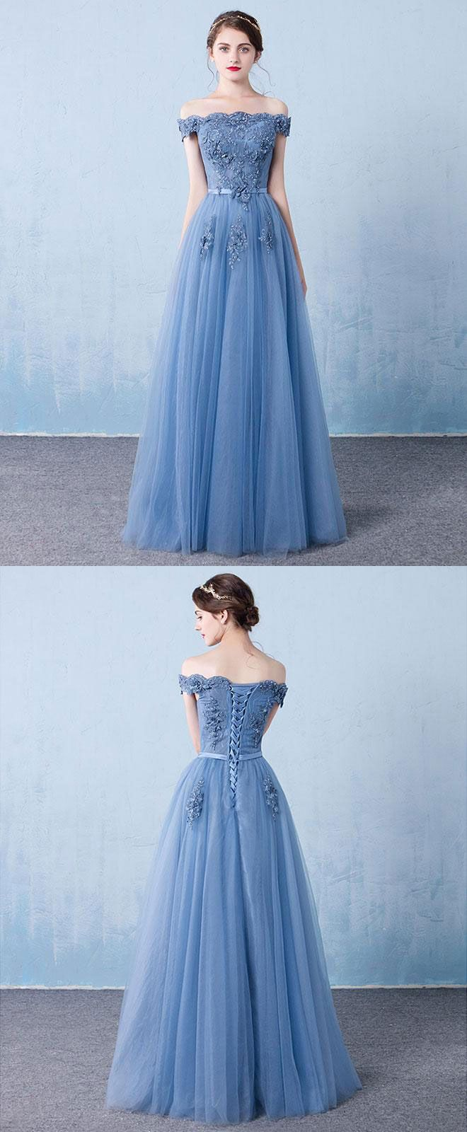 Blue tulle lace off shoulder long prom dress bridesmaid dress