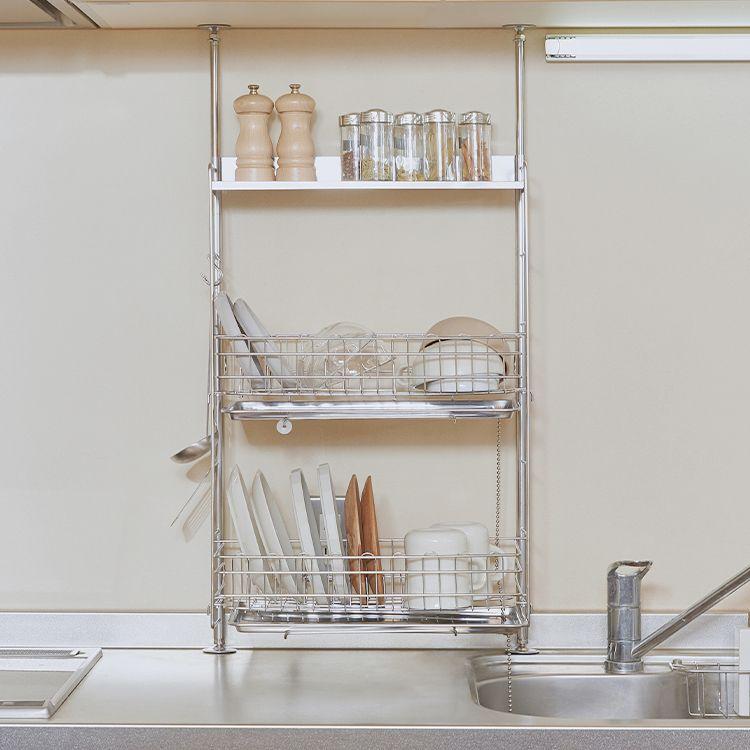 キッチン収納収納 水切りラック 突っ張り収納 ステンレス 幅45 5