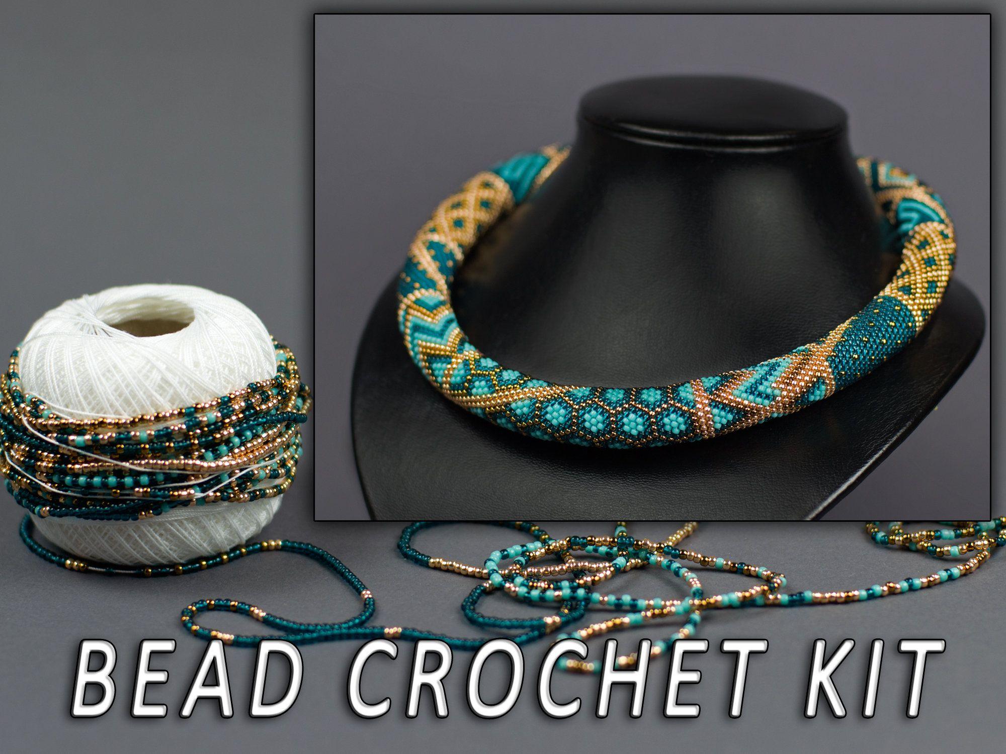 DIY Kit patchwork necklace Adult crafts Bead crochet kit