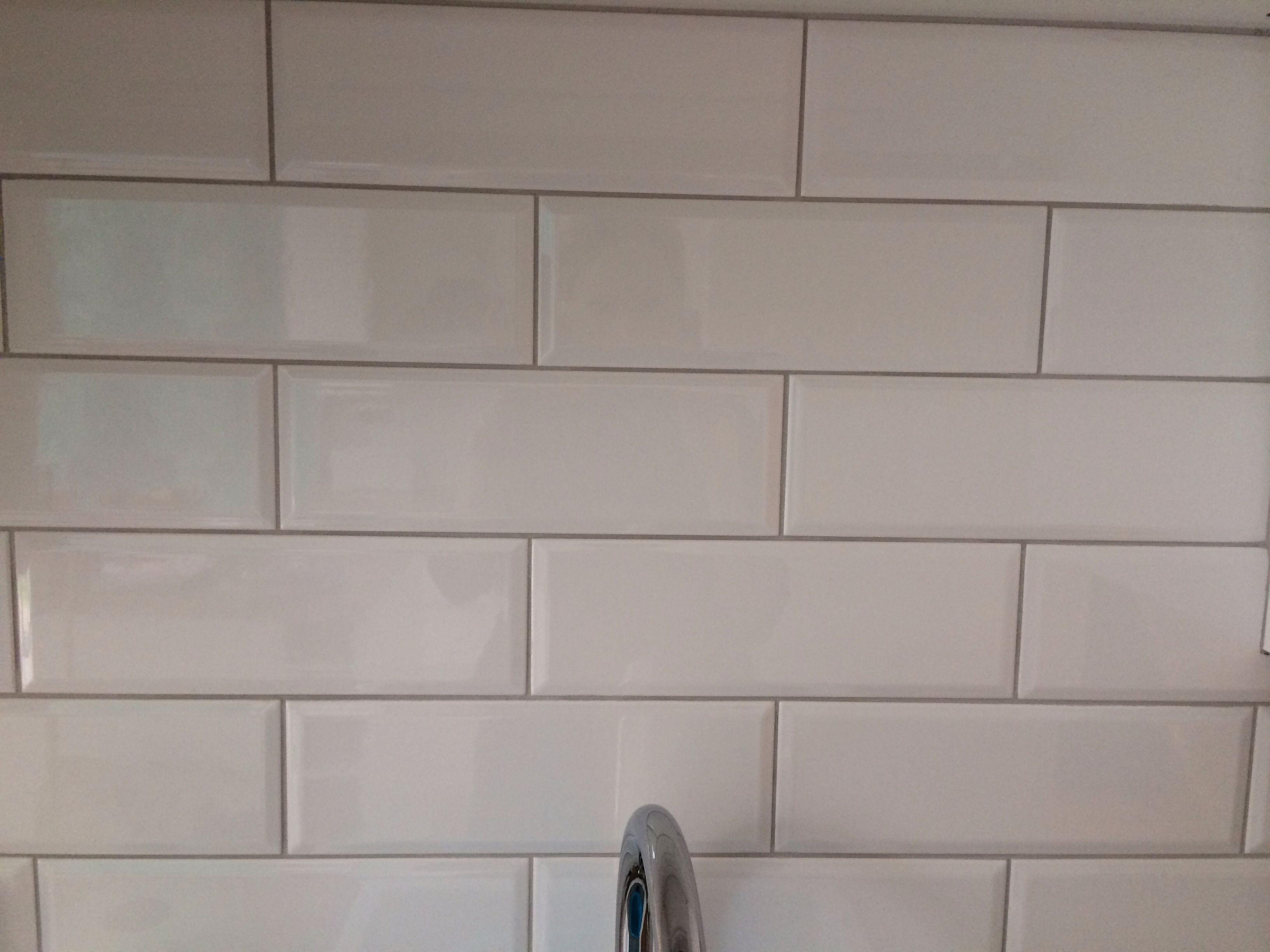 White Gloss Metro Tiles Topps Tiles With Gunmetal Grout Topps Tiles White Bathroom Tiles Green Kitchen Decor
