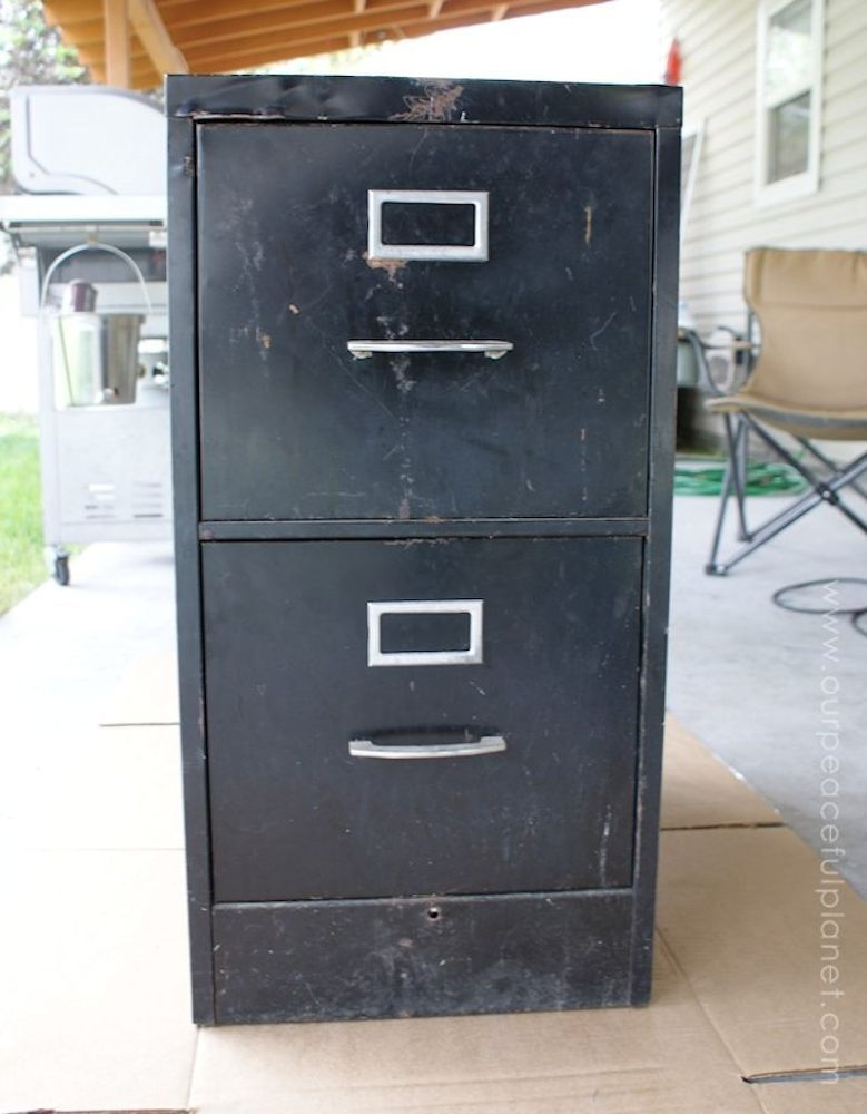 turn an old file cabinet into the prettiest accessory for. Black Bedroom Furniture Sets. Home Design Ideas