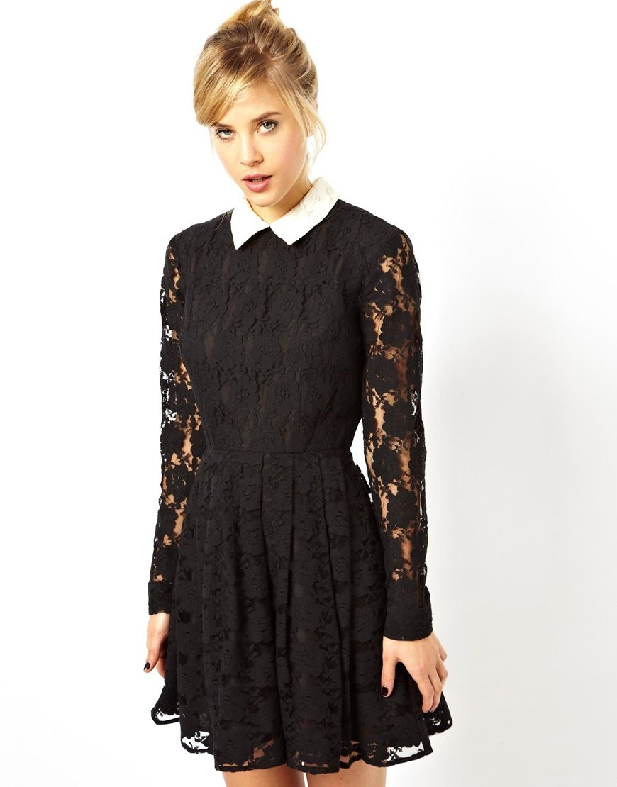 skater dress in lace with collar