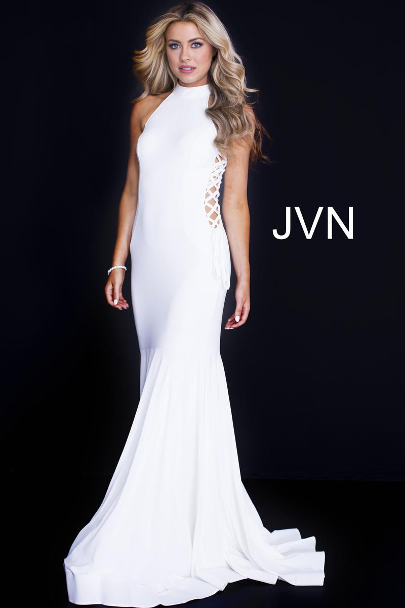 822fe6de8bc Size 4 White- JVN Prom JVN50487 is a sleeveless prom dress with a high  neckline and open lace up sides on the bodice with a trumpet silhouette  skirt.