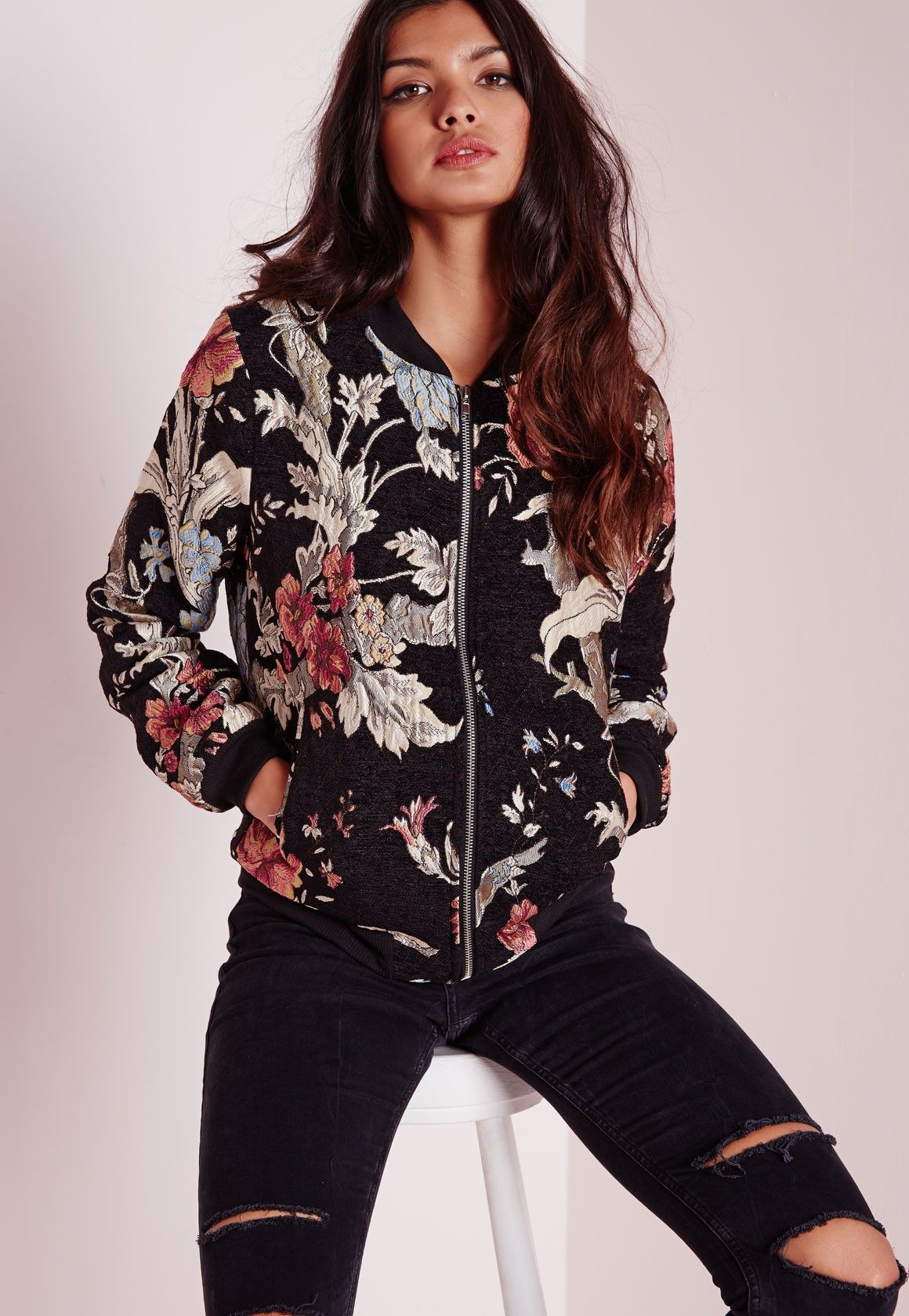 Premium embroidered floral bomber jacket black coats and