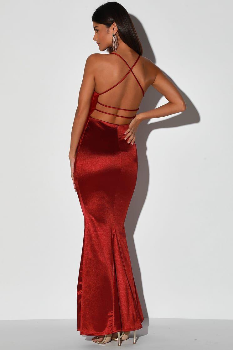 Destined Love Wine Red Satin Backless Cutout Mermaid Maxi Dress Red Dress Maxi Strappy Backless Dress Maxi Dress [ 1116 x 744 Pixel ]