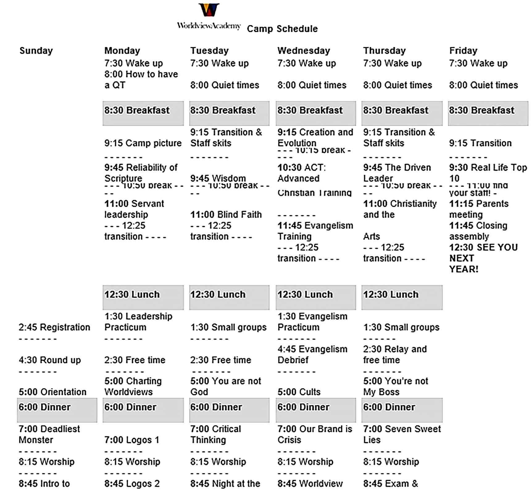Camp Schedule Template Sample di 2020