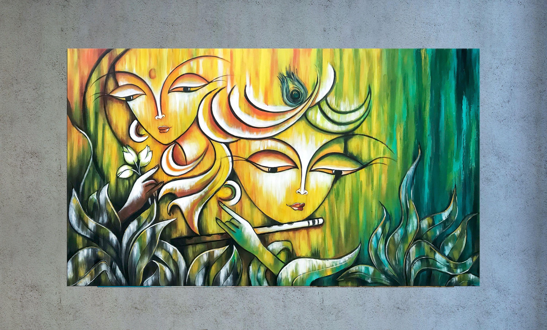 Radha Krishna Painting, Indian art, Hindu God, Modern ...