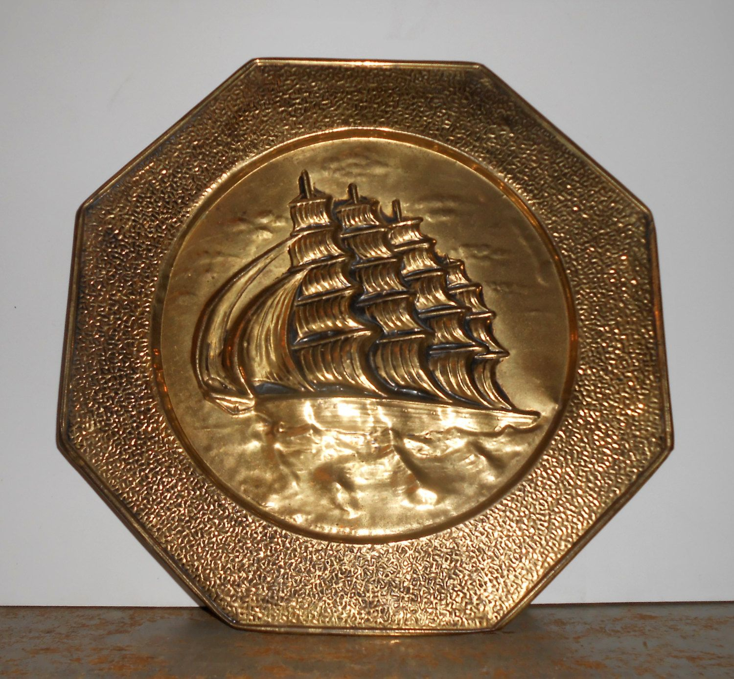 Vintage Wall Plate, Brass, Ship, Embossed, Metal, Picture, Nautical, Wall