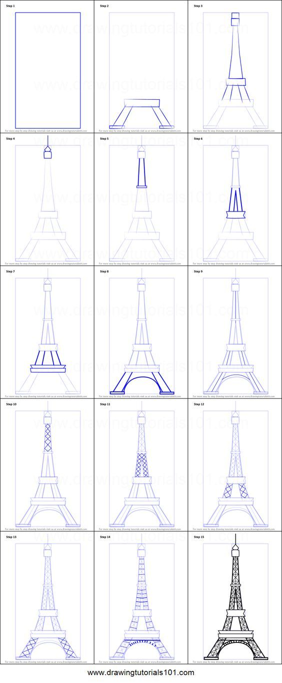 How to Draw an Eiffel Tower printable step by step drawing sheet : DrawingTutorials101.com #eiffeltower