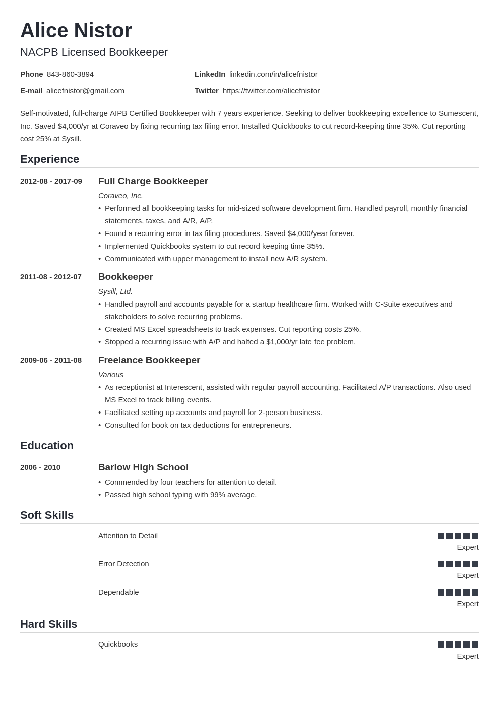 bookkeeper resume example template nanica in 2020 Job