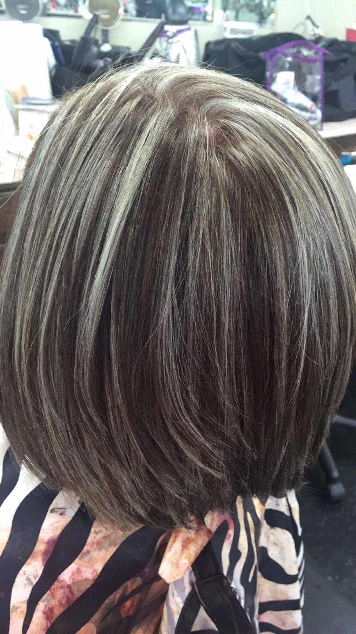 Silver Highlights Haircydgoes Blending Gray Hair Hair Highlights Transition To Gray Hair