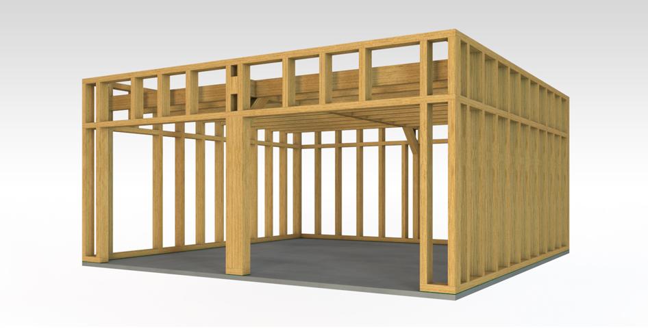 construction bois toiture plate
