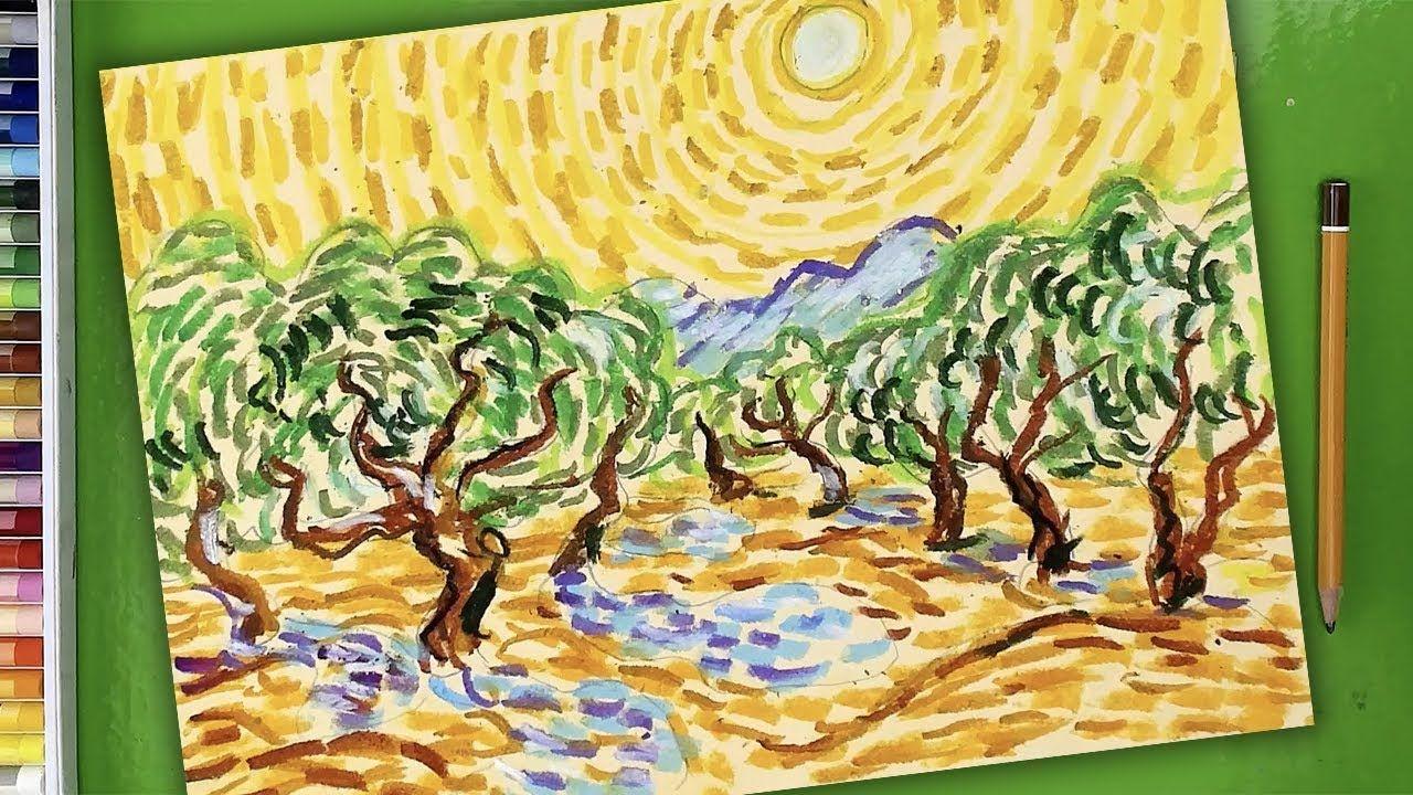 Пейзаж как рисовать Ван Гог - Урок рисования для детей ...