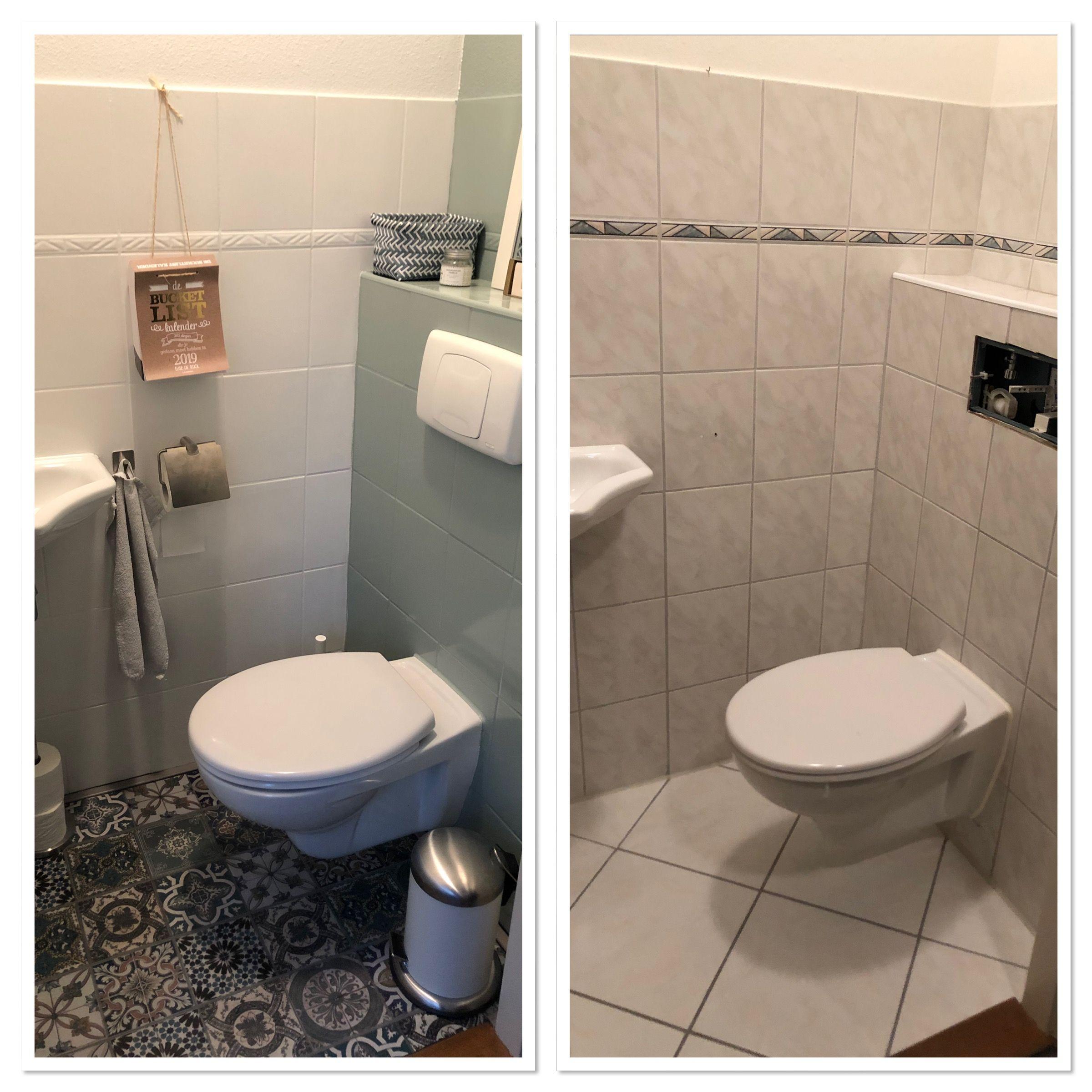 Wc Tegels Geverfd Met Tegelverf Van De Gamma Badkamer Tegelverf Badkamer Opknappen Toilet Ontwerp