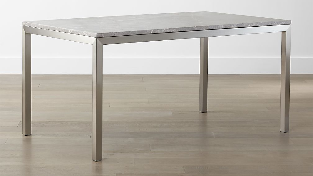 Parsons Grey Marble Top Stainless Steel Base Dining Tables