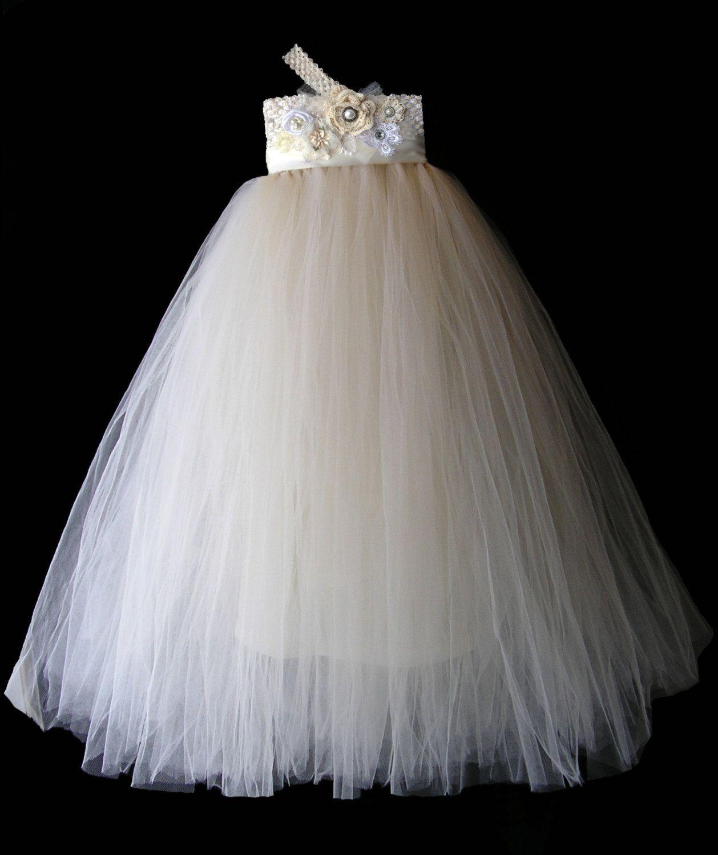 0232c21f1c9 Flower Girl Dress Ivory Tulle Wedding Dress for Little Girl size 0-36 mo.