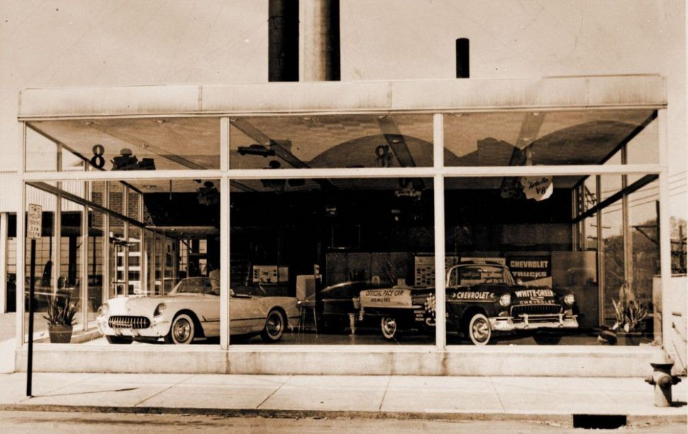 1955 White Green Chevrolet Dealership Springfield Ohio
