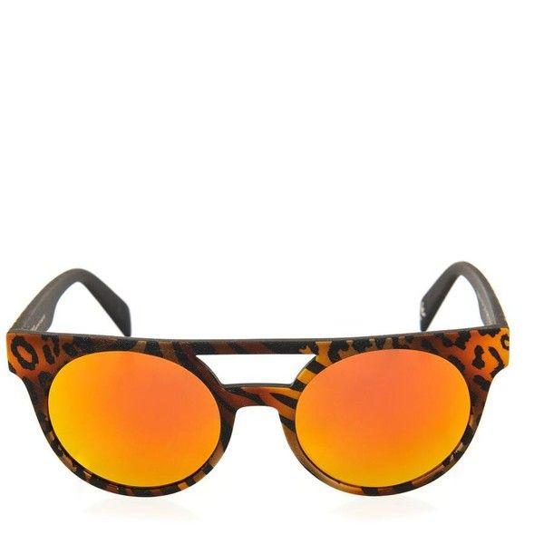 ITALIA INDEPENDENT I-Peach acetate round-framed sunglasses ($283) ❤ liked on Polyvore featuring accessories, eyewear, sunglasses, multi, leopard glasses, rounded sunglasses, acetate sunglasses, round mirrored sunglasses and acetate glasses