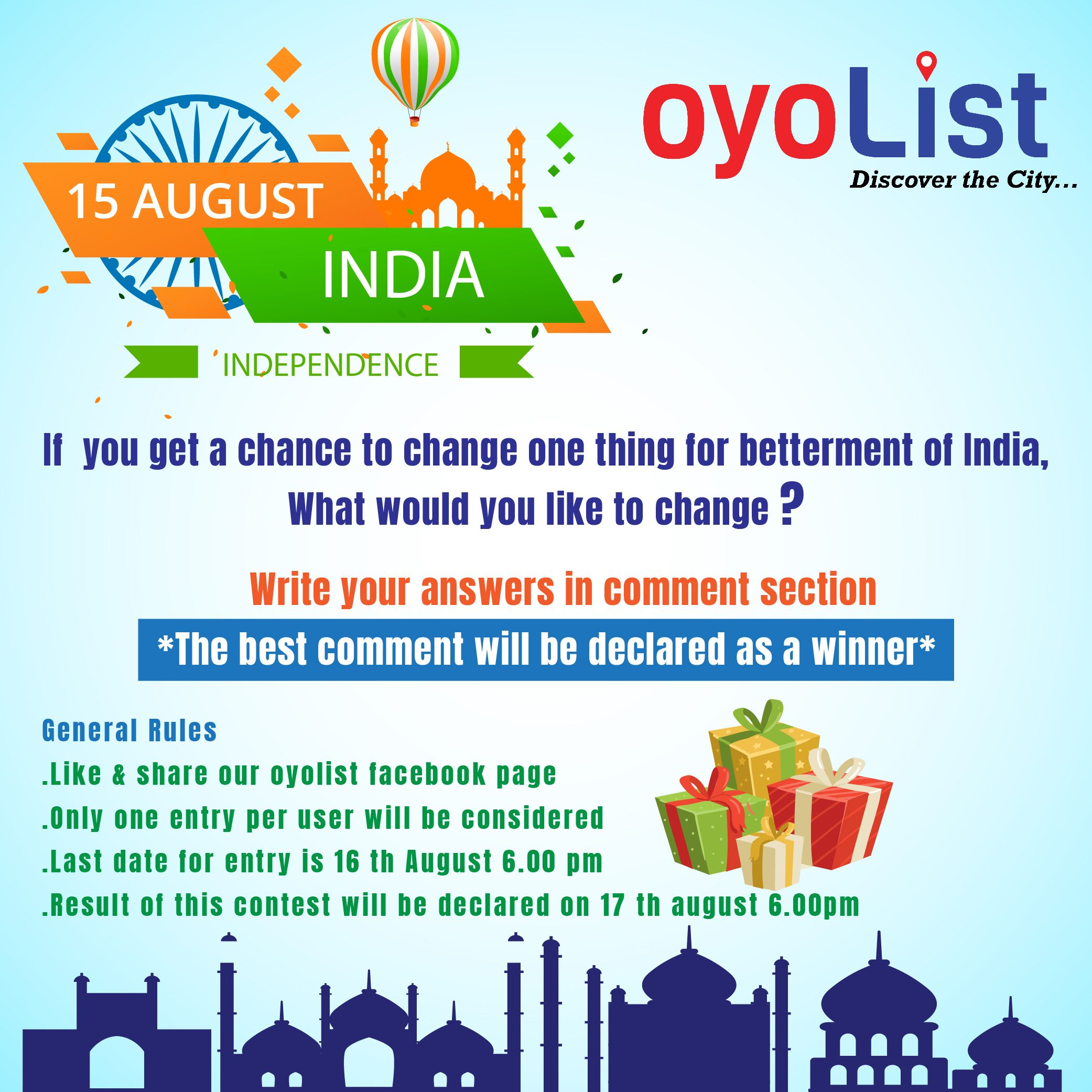 OYOLIST INDEPENDENCE DAY CONTEST IS BACK !! oyolist