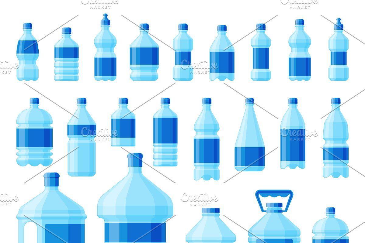 Water Plastic Bottle Set Vector Aqua Bottle Bottle Water Bottle