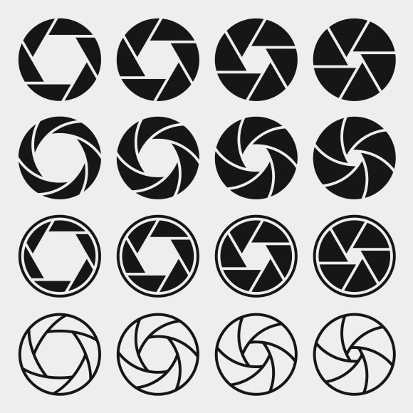 Camera shutter icons by microvector on creative market for Camera film logo