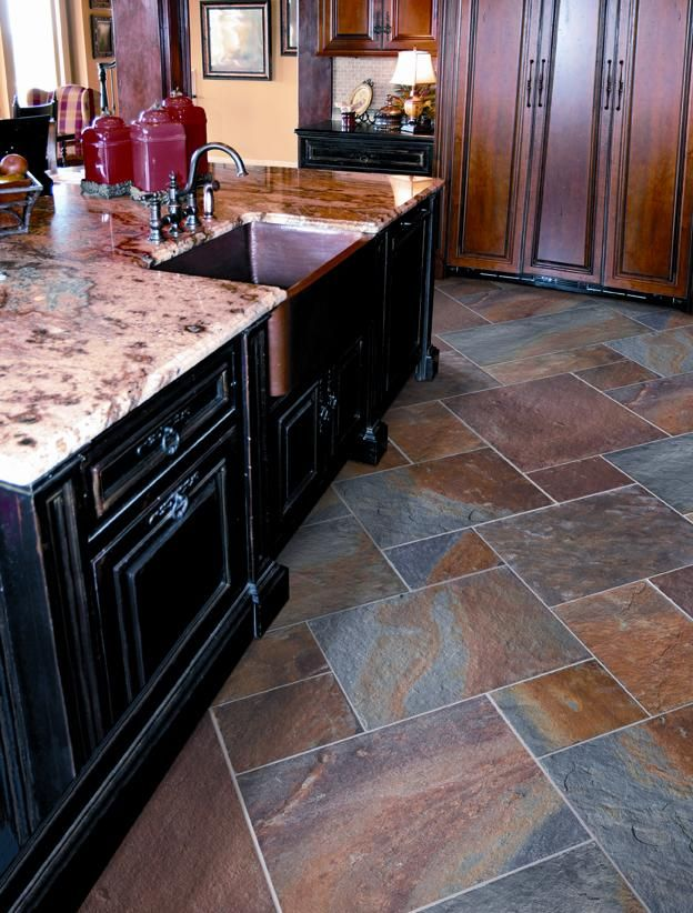 Slate floor tiles   Kitchen flooring, Kitchen floor tile ...