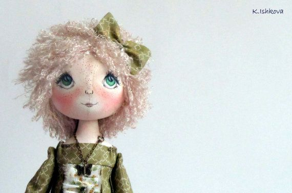 Textile Cloth Art doll Lia fairy green bow par ArtDollsByKseniya, $99.00
