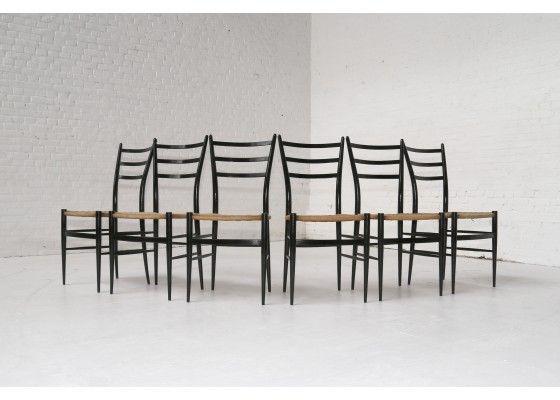 Sedie Chiavarine ~ Mid century spinetto chairs from chiavari set of 6 chiavari