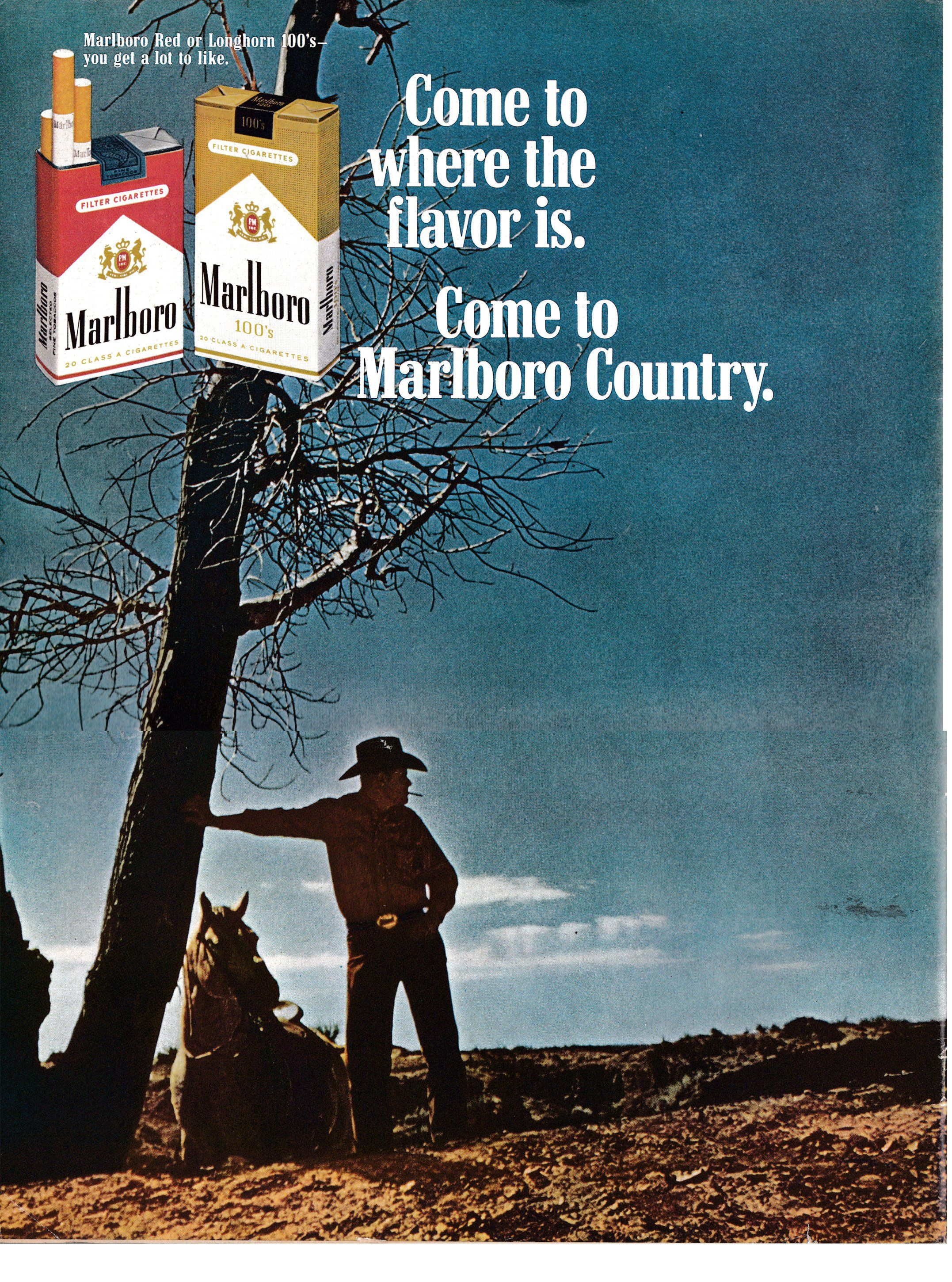 1968 Marlboro Country Man Cigarettes Leaning On Tree Original