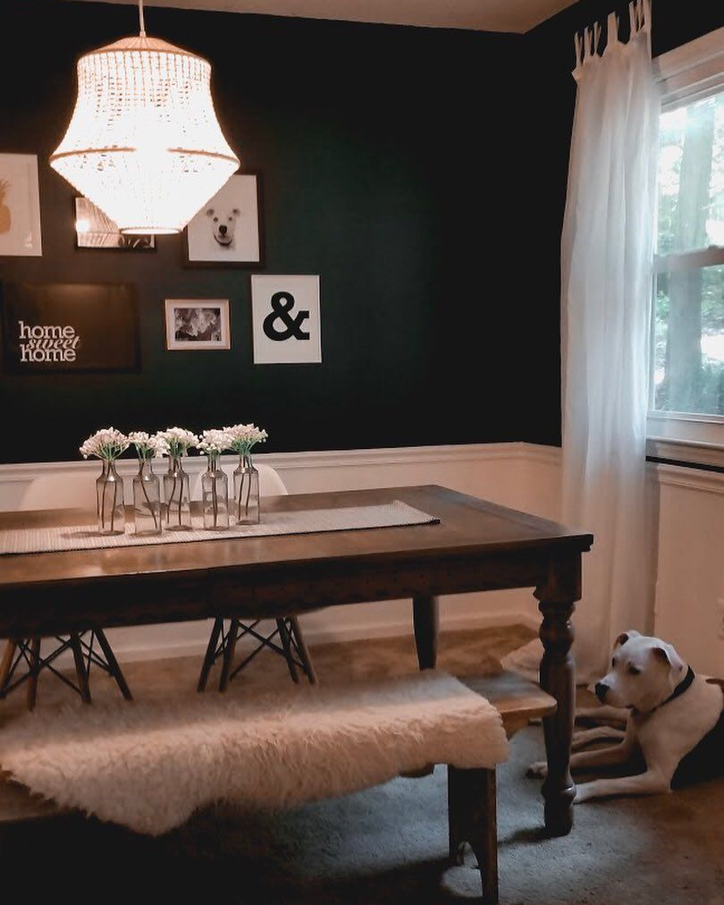 Eclectic Dining Room Design Dark Green Paint Black And White