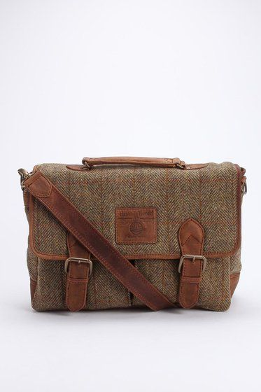The British Belt Company Harris Tweed Messenger