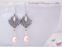 Jugendstil Ohrhänger Perle Silber rosa pastell