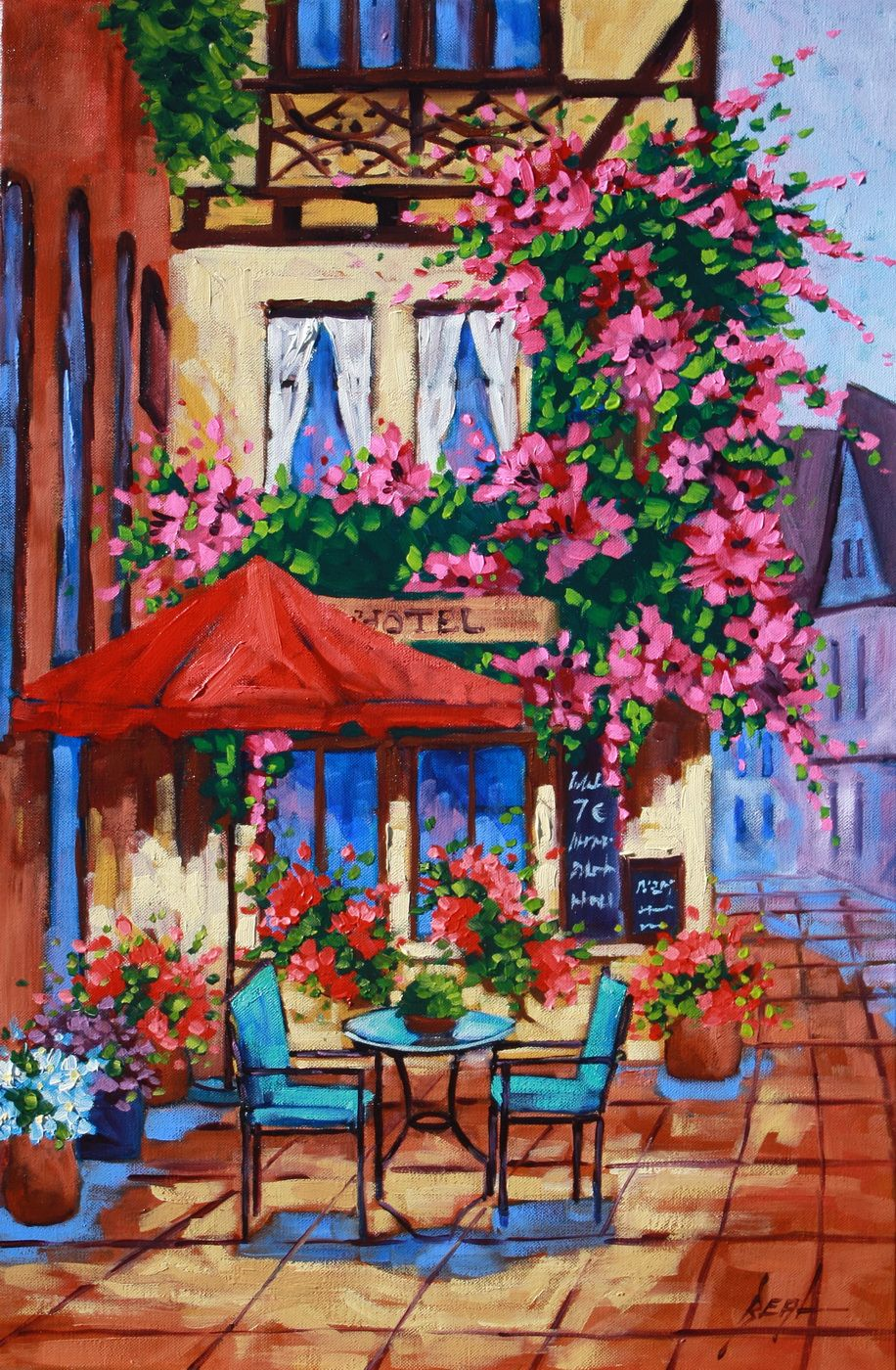 European Ambiance Rebecca Beal 20 X 30 Colorful Original Oil Painting Outdoor Cafe Loose Brush Strokes Loads Of Blooming Flowers And Sunshine