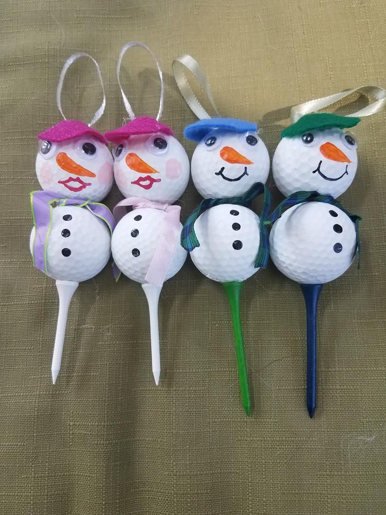 Snowman Woman Golf Ball Ornaments Etsy In 2020 How To Make Ornaments Ball Ornaments Cute Snowman