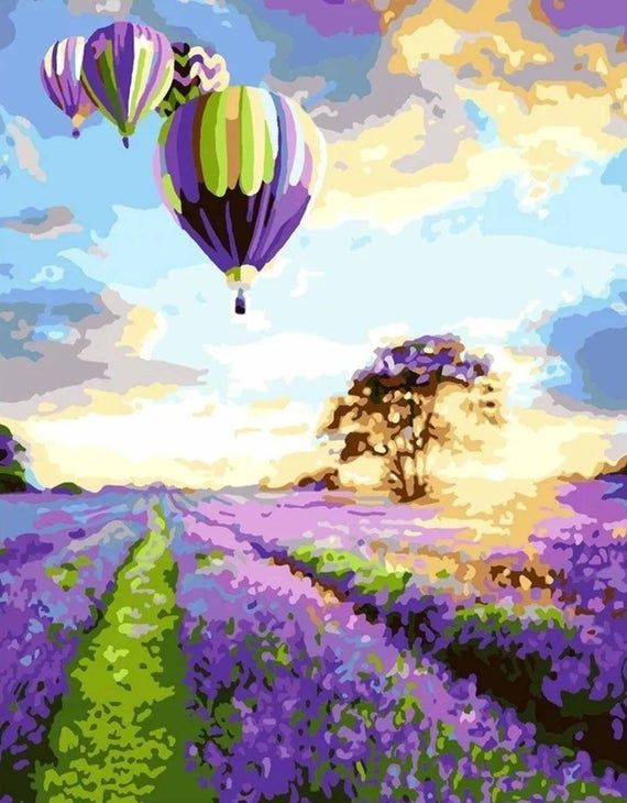 Paint By Number Kit Hot Air Balloon Over Fields Of Lavender During Sunset Diy Fast Shipping By Ourpaintaddictions Raskraska Po Cifram Kartiny Pejzazhi