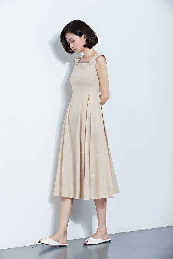 24f760b6e3d7 Pinafore Dress,Beige Linen Dress,Suspender Dress,Overall Dress,Midi Length  Dress,Long Dress,Summer Dress,Women's Dress C1140