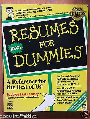 For Dummies Resumes for Dummies by Joyce Lain Kennedy (1996 - resumes for dummies