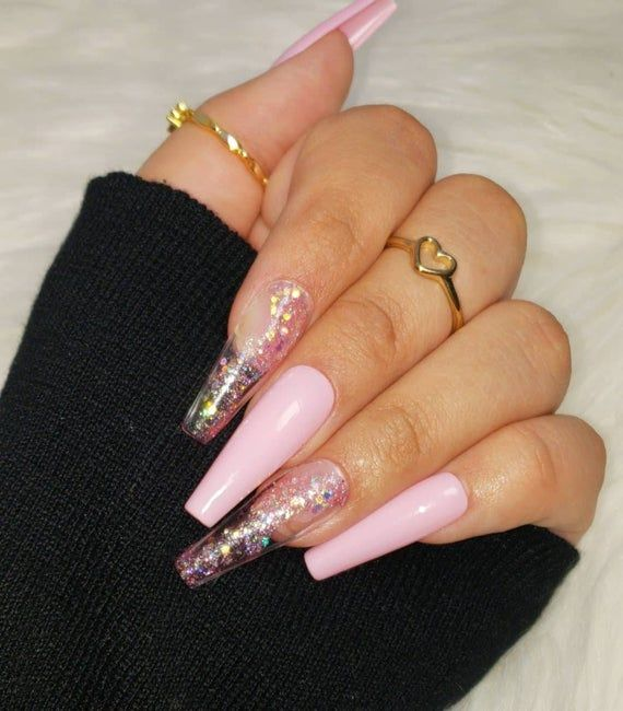 Stay Glistening Set Handmade Salon Quality Gel Press Ons Etsy Coffin Nails Designs Fake Nails Long Acrylic Nails