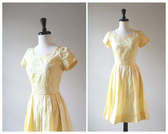 Beautiful 1950s Vintage Pale Butter Yellow by TheMermaidsTailleur