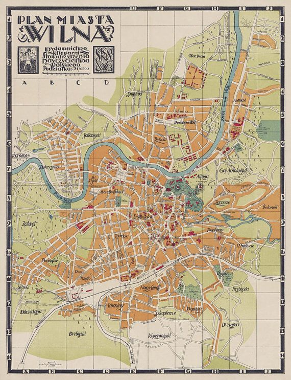 Wilna Map Old Map Of Vilnius Lithuania Vintage Map Restored