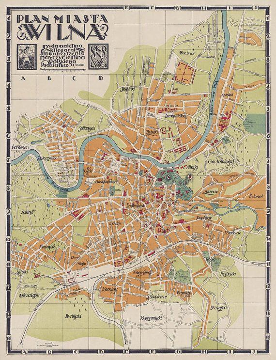 Vilnius Map Vintage Maps Pinterest Lithuania - Vilnius map