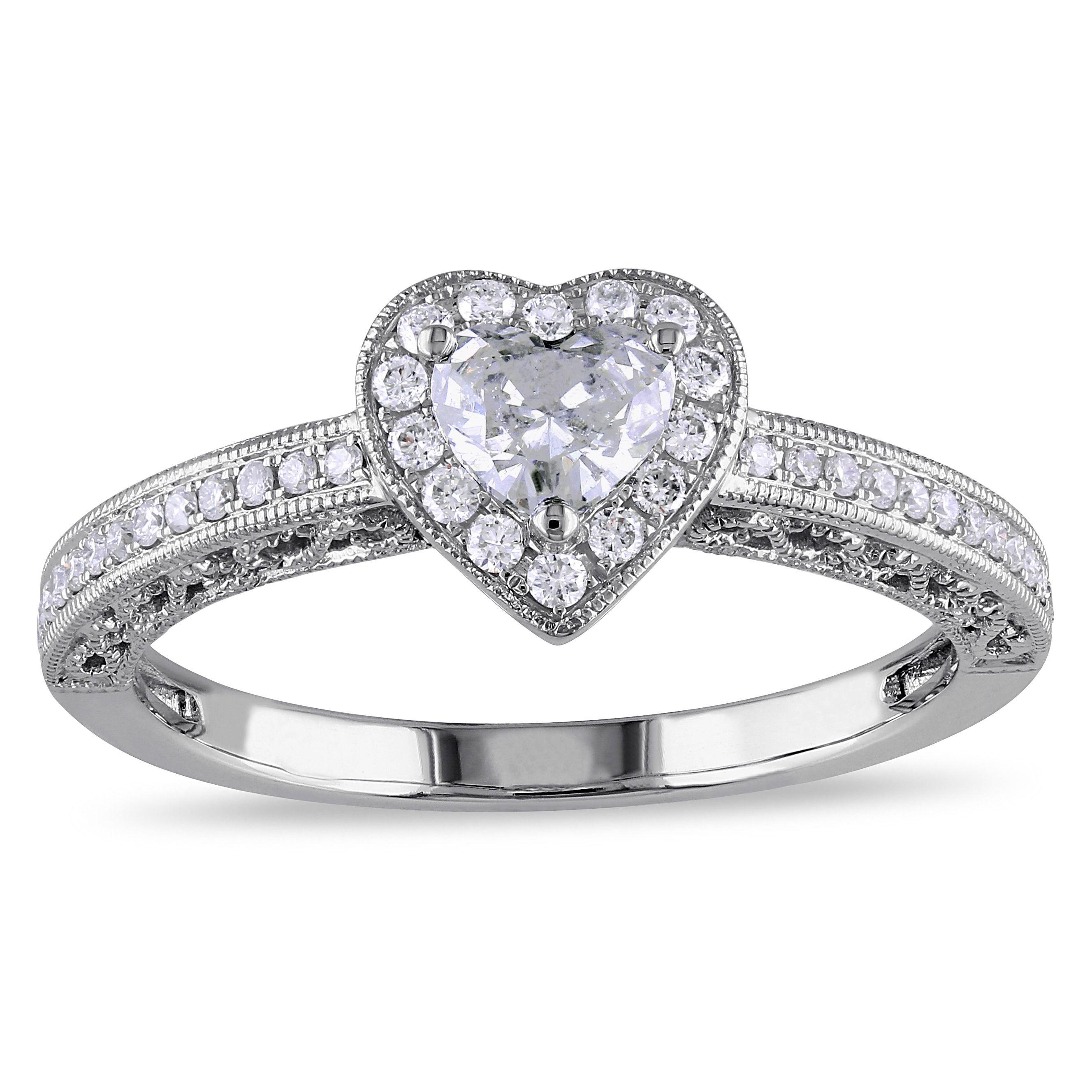 Miadora signature collection 14k white gold 1ct tdw diamond double row - Miadora Signature Collection 14k White Gold 1 2ct Tdw Diamond Heart Ring G H I1 I2 Size 10 Women S