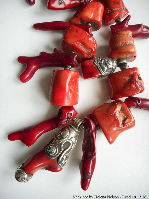 Drop Dead Red Red Coral Tribal bold chunky by MorningDoveDesign