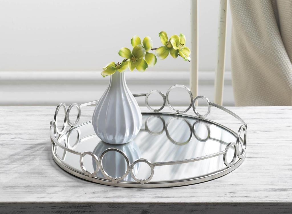 Silver Circles Mirrored Tray Mirror, Silver Mirror Tray Decor