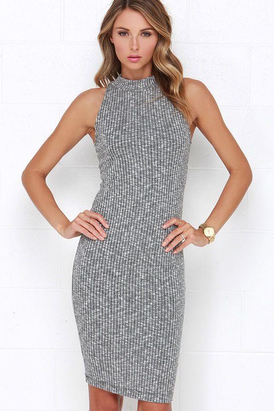 b8b5972b95067 Speck of Truth Ribbed Grey Dress at Lulus.com!