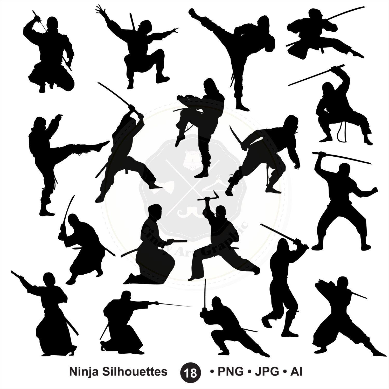 Ninja Silhouettes Clipart Ninja Clipart Samurai Japan Silhouettes Clipart Digital Download Buy 1 Get 1 Free Use Code 1get12 Samurai Art Ninja Art Silhouette