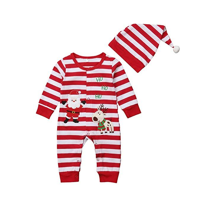 01c80847d60a Aliven Toddler Infant Baby Girl Boy Long Sleeve Deer Romper Jumpsuit  Pajamas Xmas Outfit