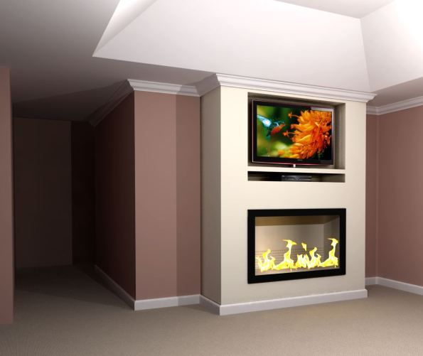 Contemporary Built In Tv Fireplace Wall Rendering Fireplace
