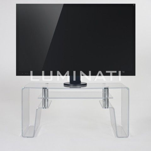 Gorgeous Acrylic TV Stand With Storage Shelf And Chrome Fittings